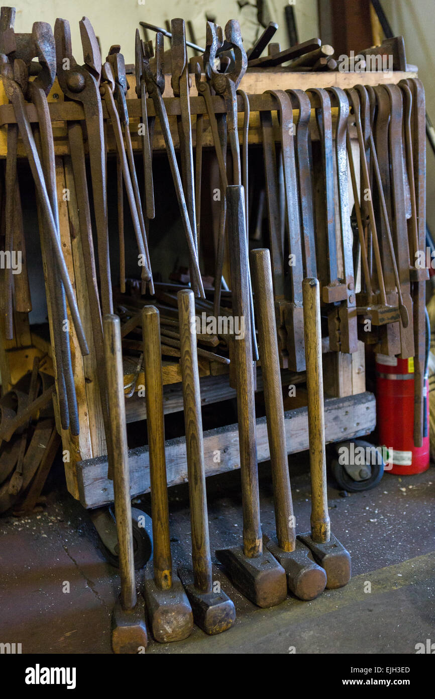 Blacksmith Metal Working Tools At A Iron Working Shop In
