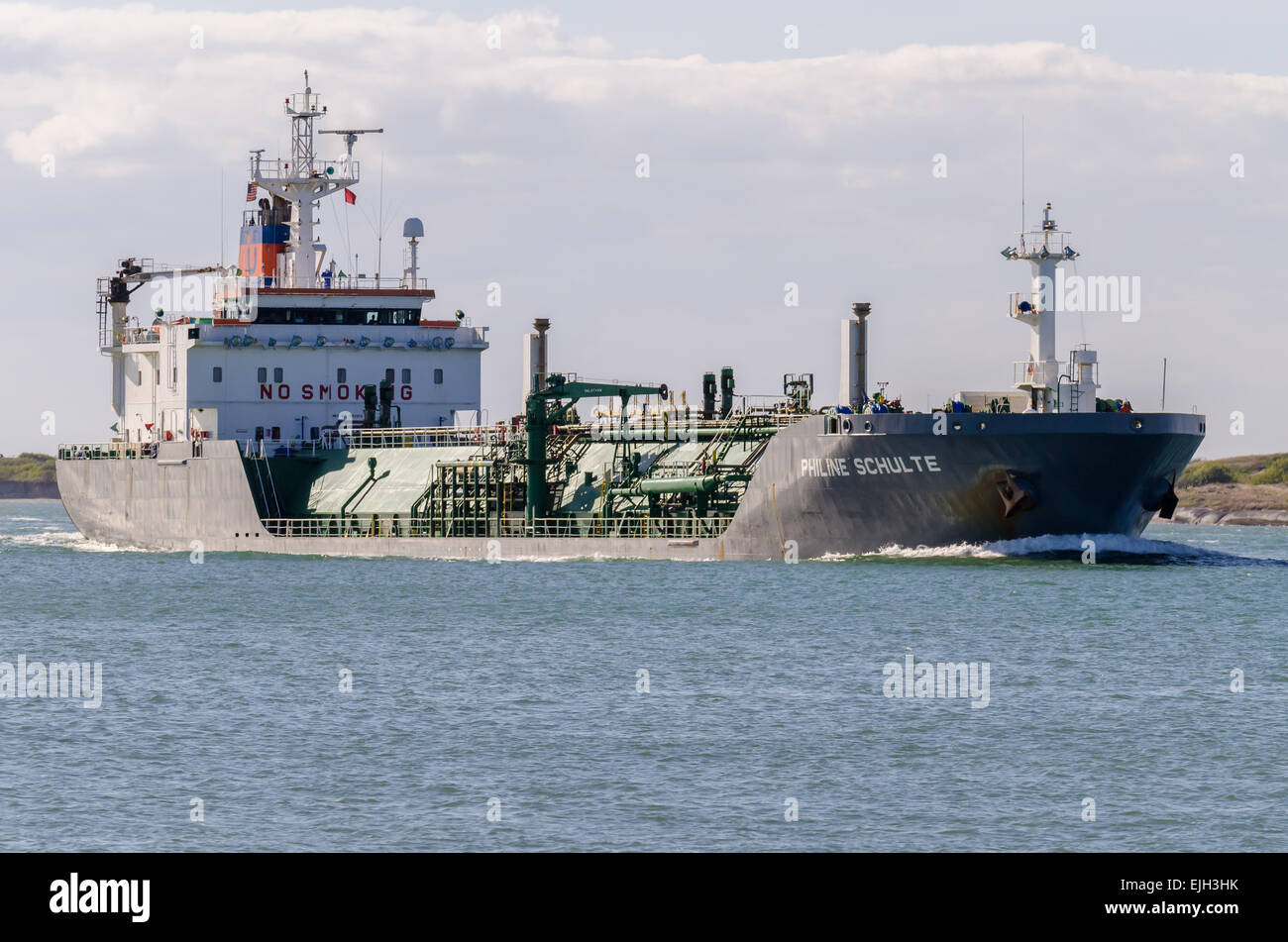 The LNG tanker PHILINE SCHULTE whose home port is ISLE OF MAN in the UK is shown in the Corpus Christi ship channel - Stock Image