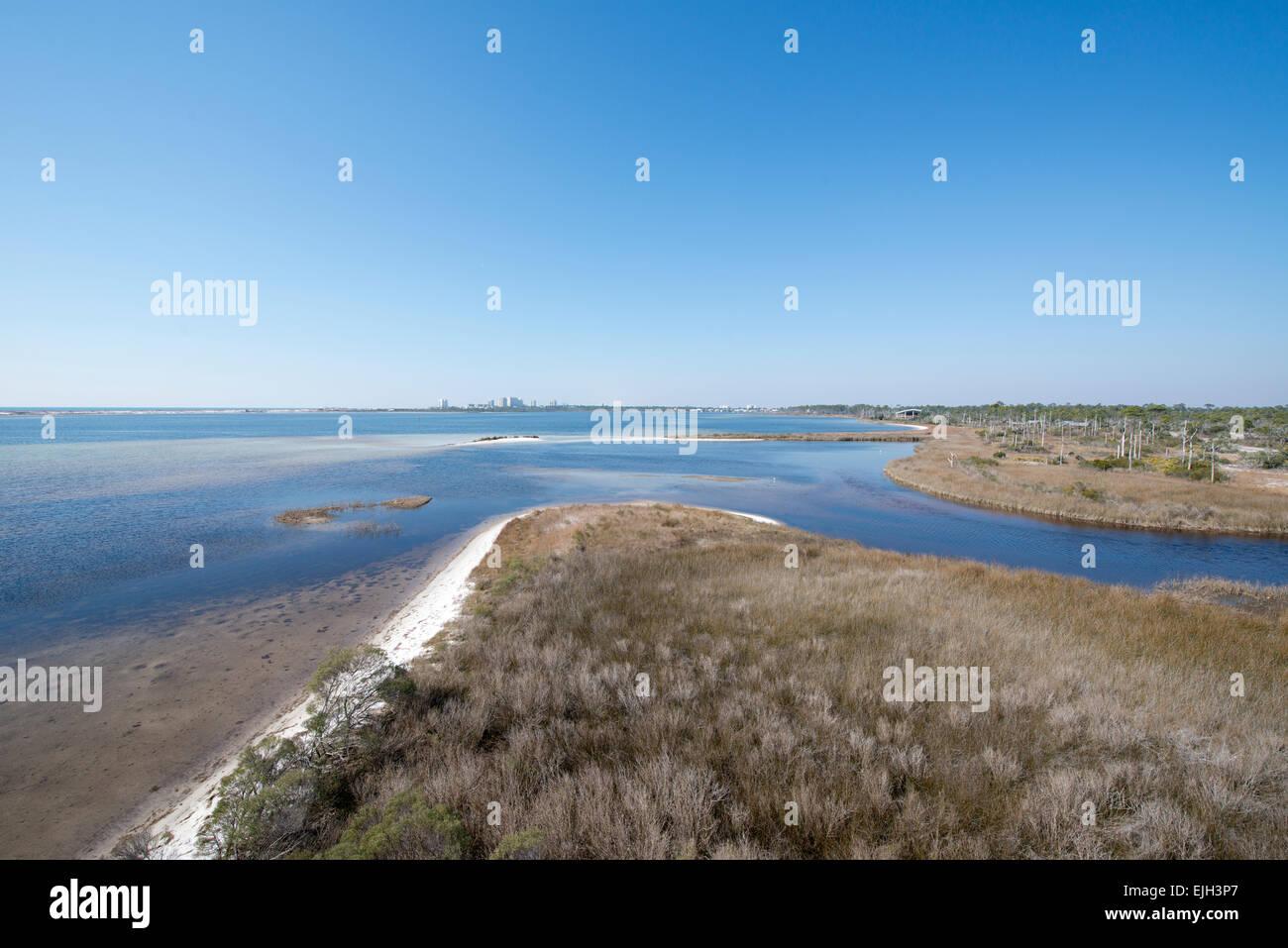 A view of Pensacola Bay at Big Lagoon State Park in Pensacola, Florida Stock Photo