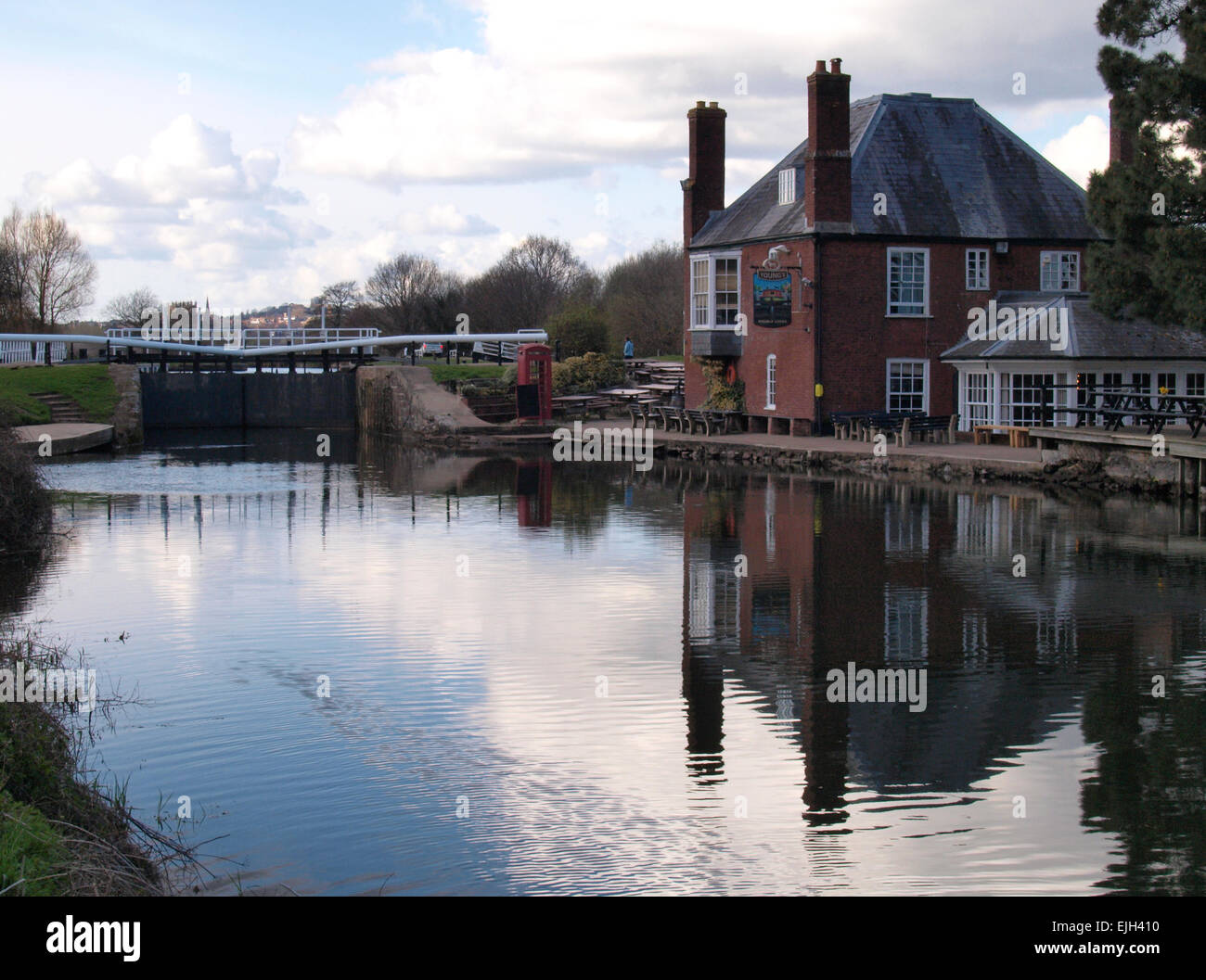 Double Locks Hotel on the Exeter Canal, Devon, UK Stock