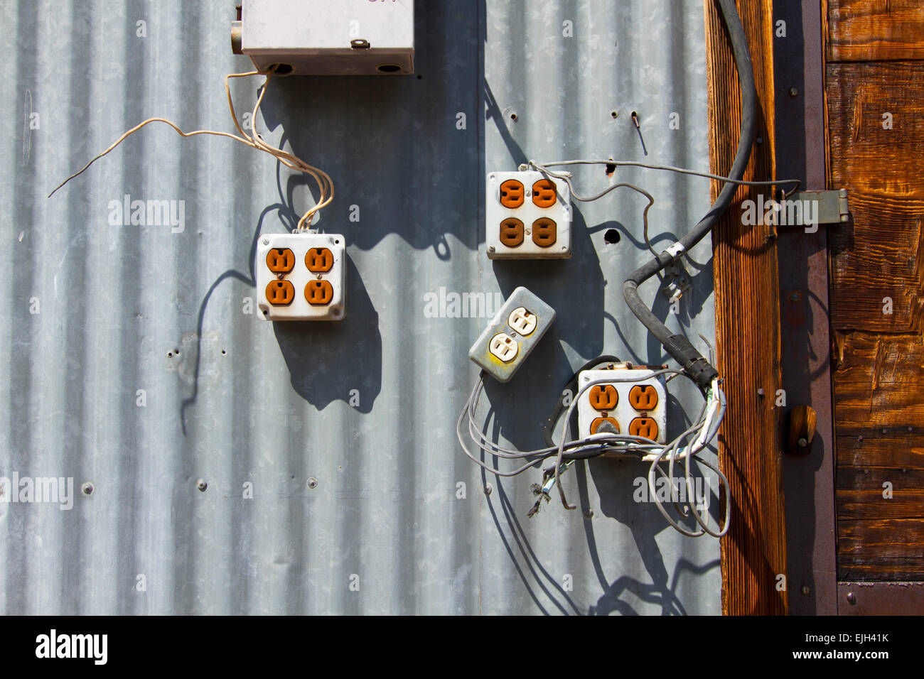 Faulty Wiring Stock Photos Images Alamy Diy Electrical Shed Old Electric And Equipment On Wall Image