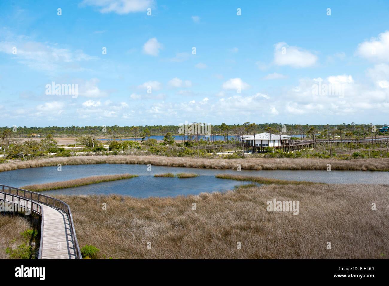Walkway along Big Lagoon State Park in Northwest Florida Stock Photo