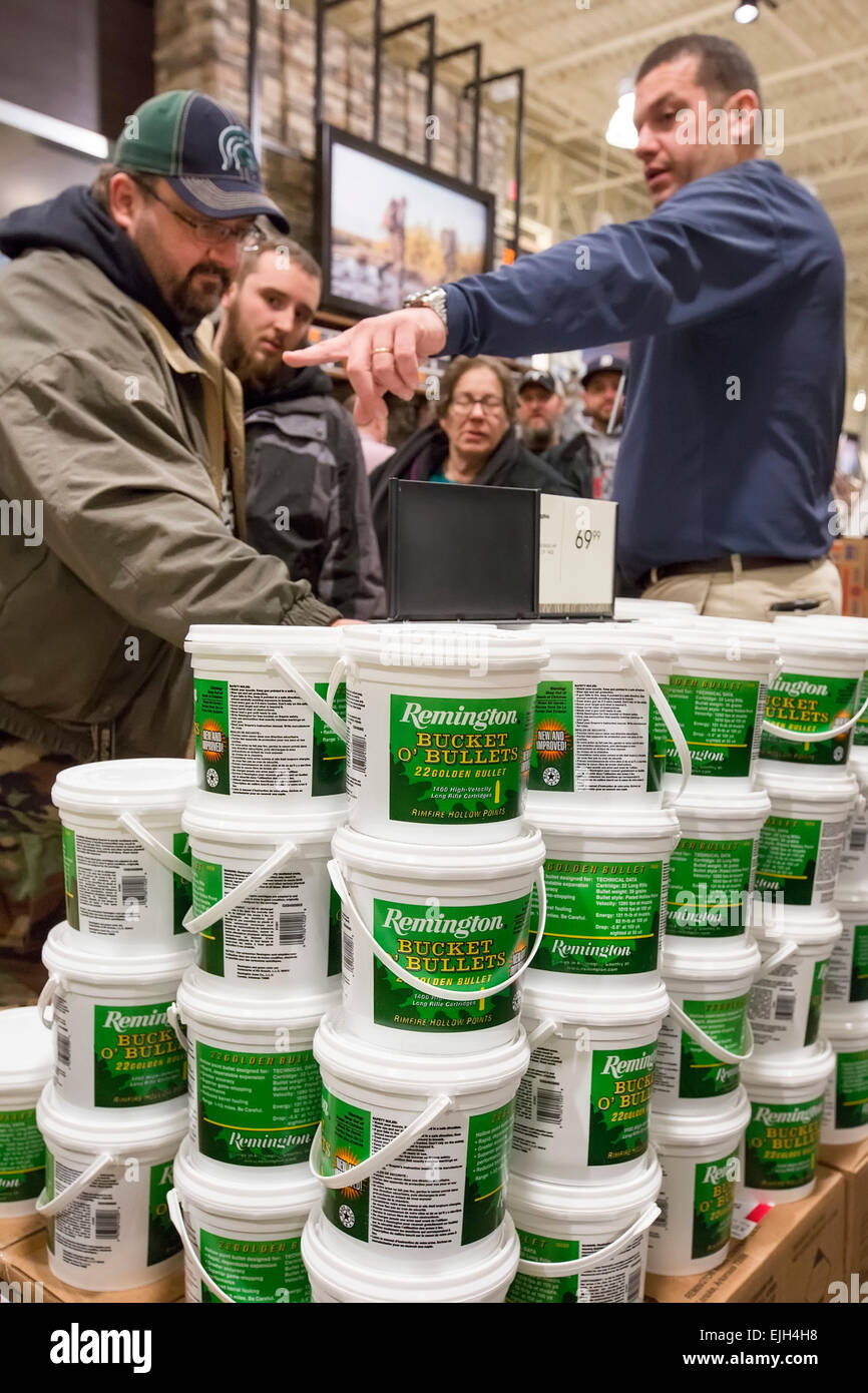 Troy, Michigan - People buy buckets of hollow point ammunition on sale at the Field & Steam outdoors store. - Stock Image