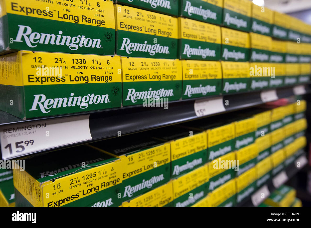 Troy, Michigan -Ammunition on sale at the Field & Steam outdoors store. - Stock Image