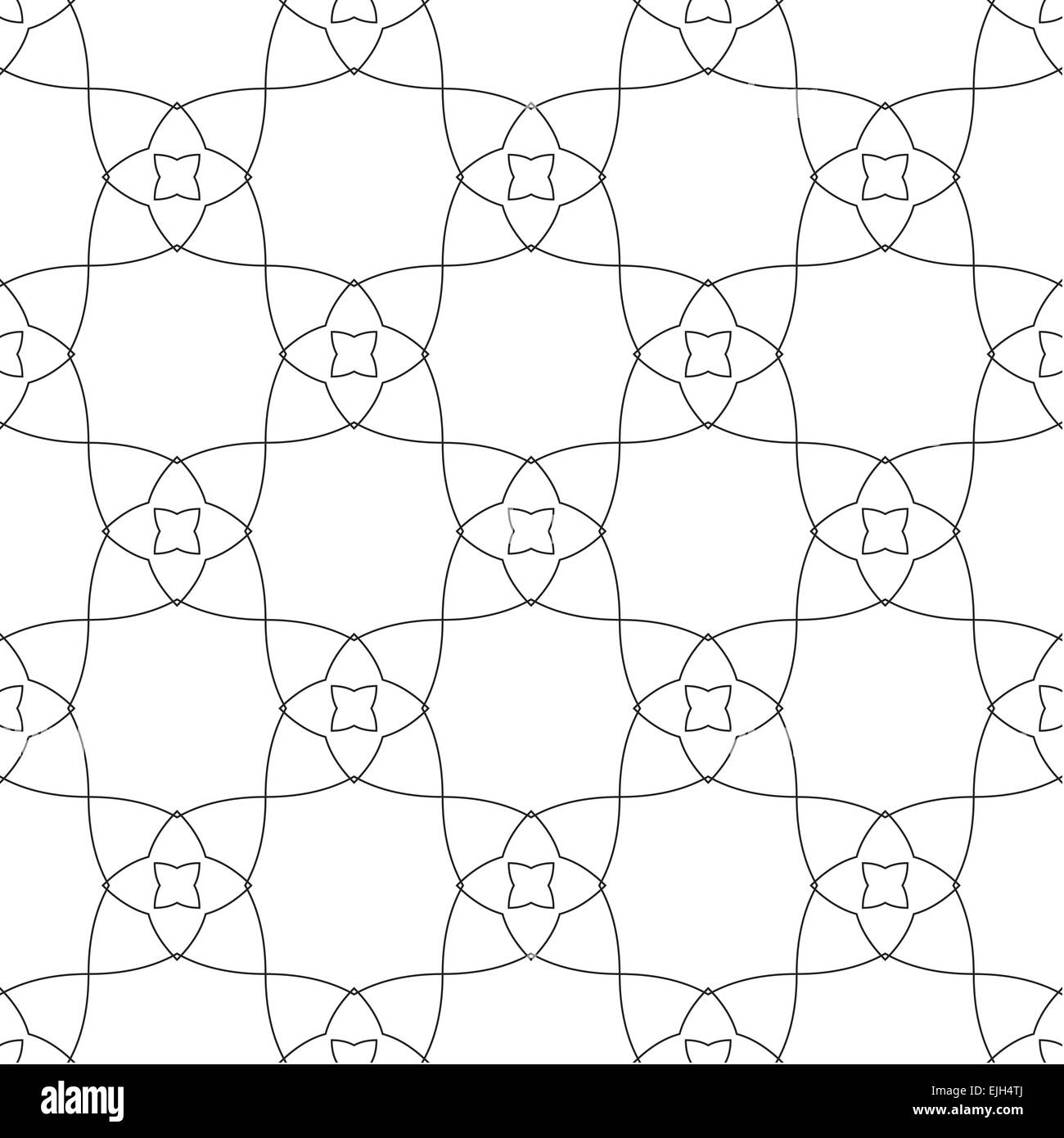 Symmetrical Geometric Shapes Black And White Floral Vector Textile  Backdrop. Can Be Use As Fabric, Tablecloth Pattern.