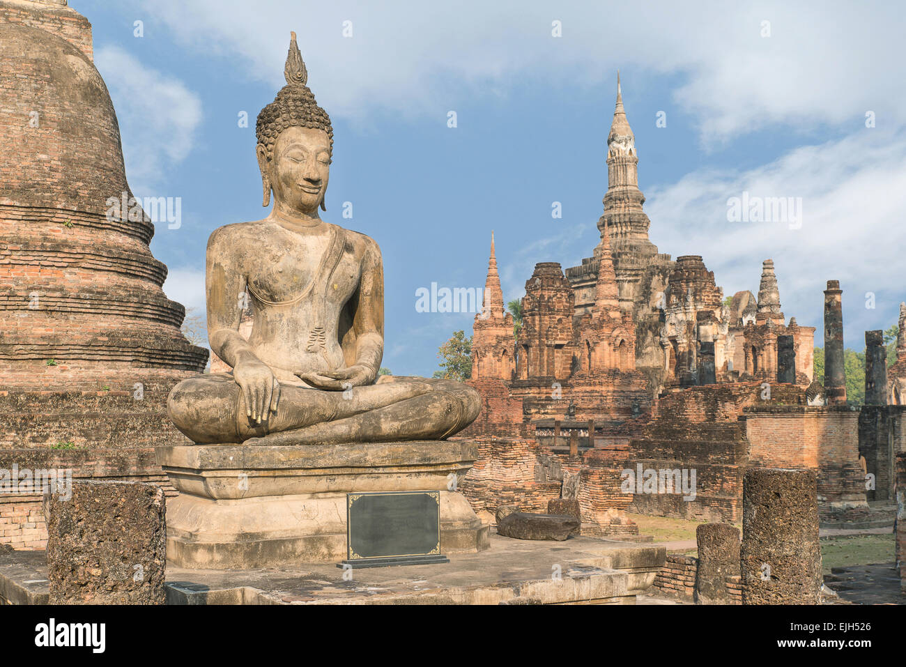 Buddha Statue at Wat Mahathat in Sukhothai Historical Park, Sukhothai,Thailand Stock Photo