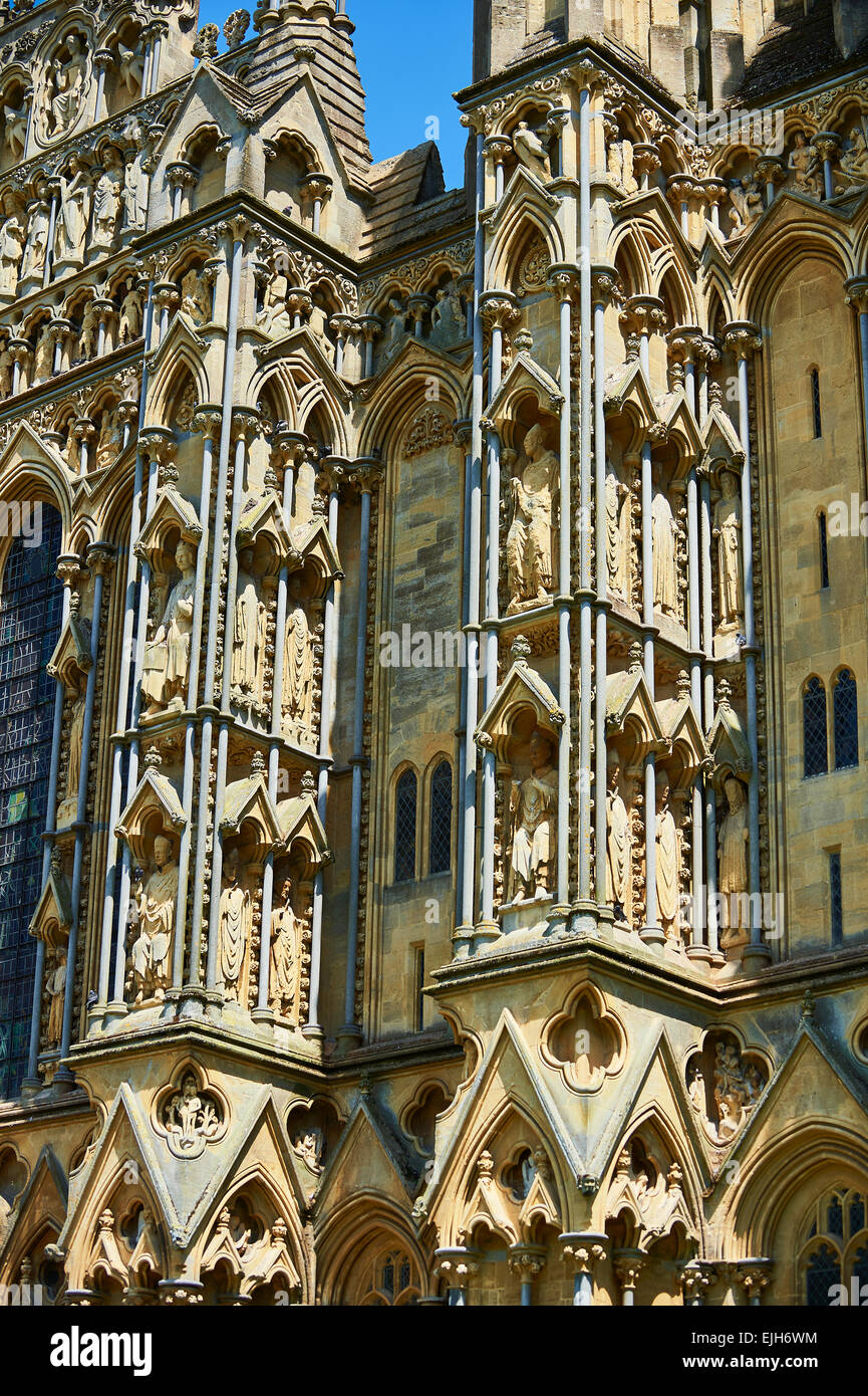 Statues on the facade of the medieval Wells Cathedral built