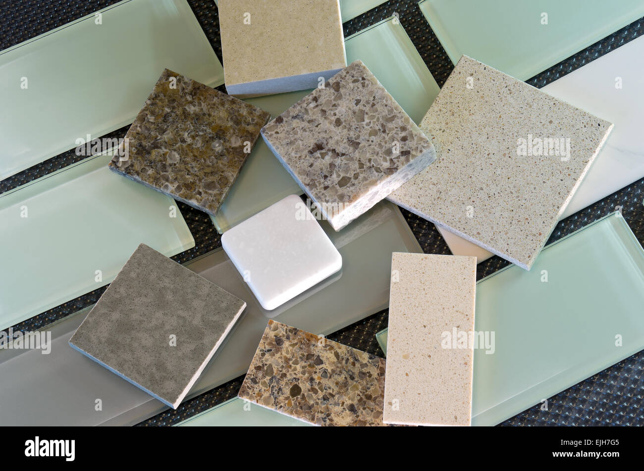 Glass Subway Tile Samples Used In Kitchen Backsplashes And Quartz