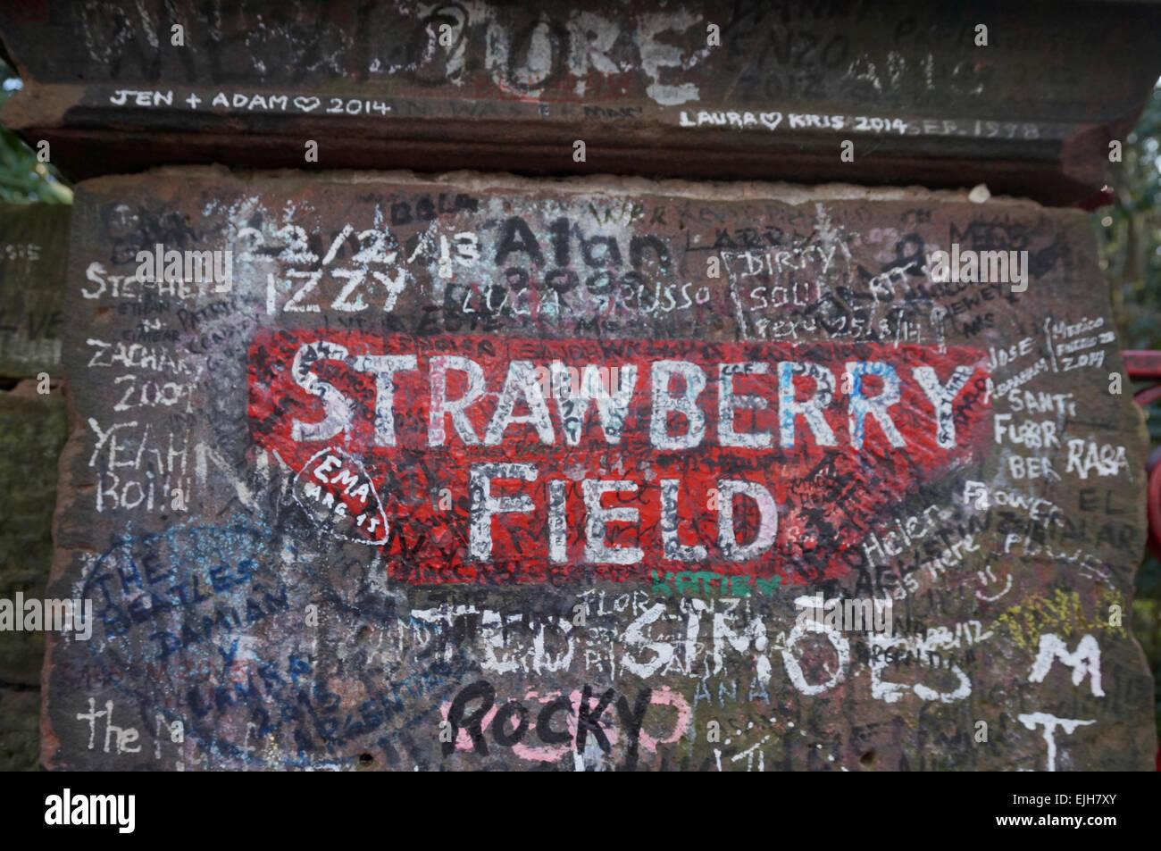Strawberry Field Written On Gatepost - Stock Image