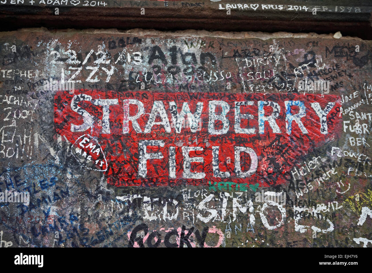 Strawberry Field Gatepost inLiverpool - Stock Image