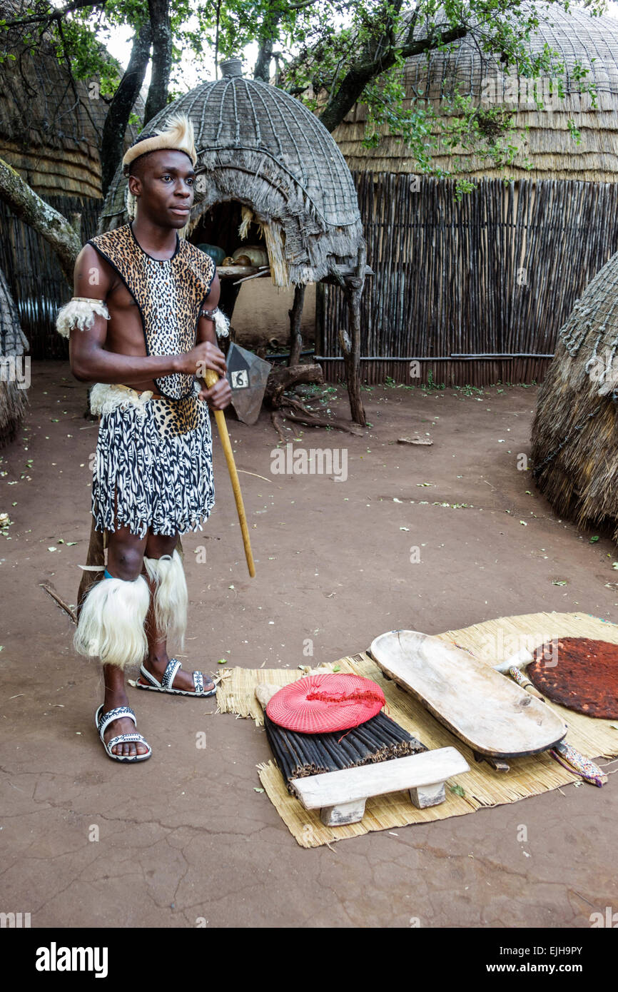 Johannesburg South Africa African Lesedi African Lodge & Cultural Village Zulu tribe Black man native regalia - Stock Image