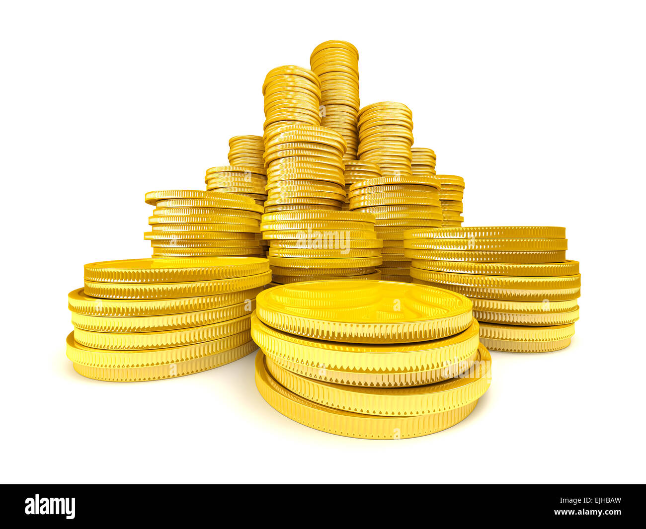 Stack of gold coins - Stock Image