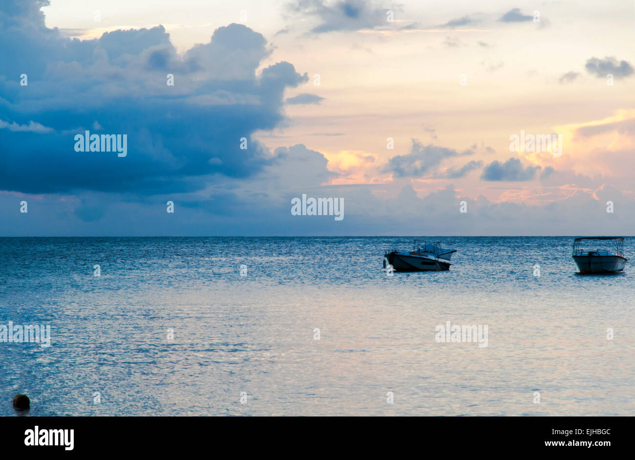 The beautiful sunset view of Mauritius - Stock Image