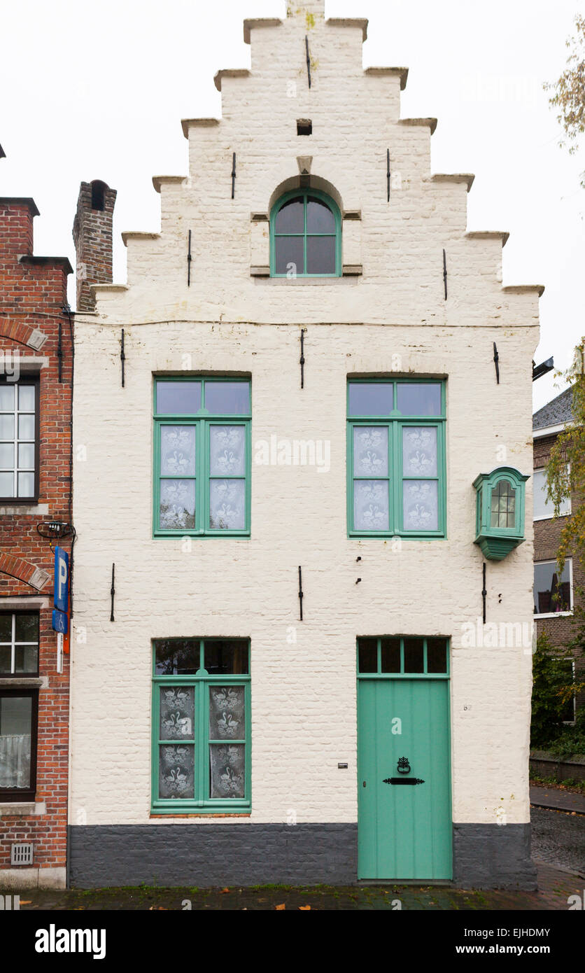 House and architectural detail in Bruges, Belgium - Stock Image