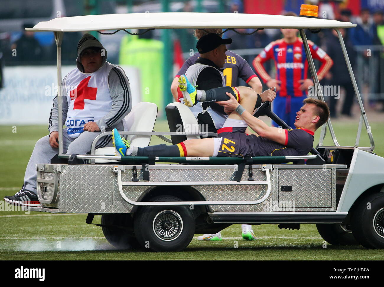 Moscow, Russia. 21st Mar, 2015. Arsenal's Yevgeny Yezhov got injured during the 2014/15 Season Russian Premier - Stock Image
