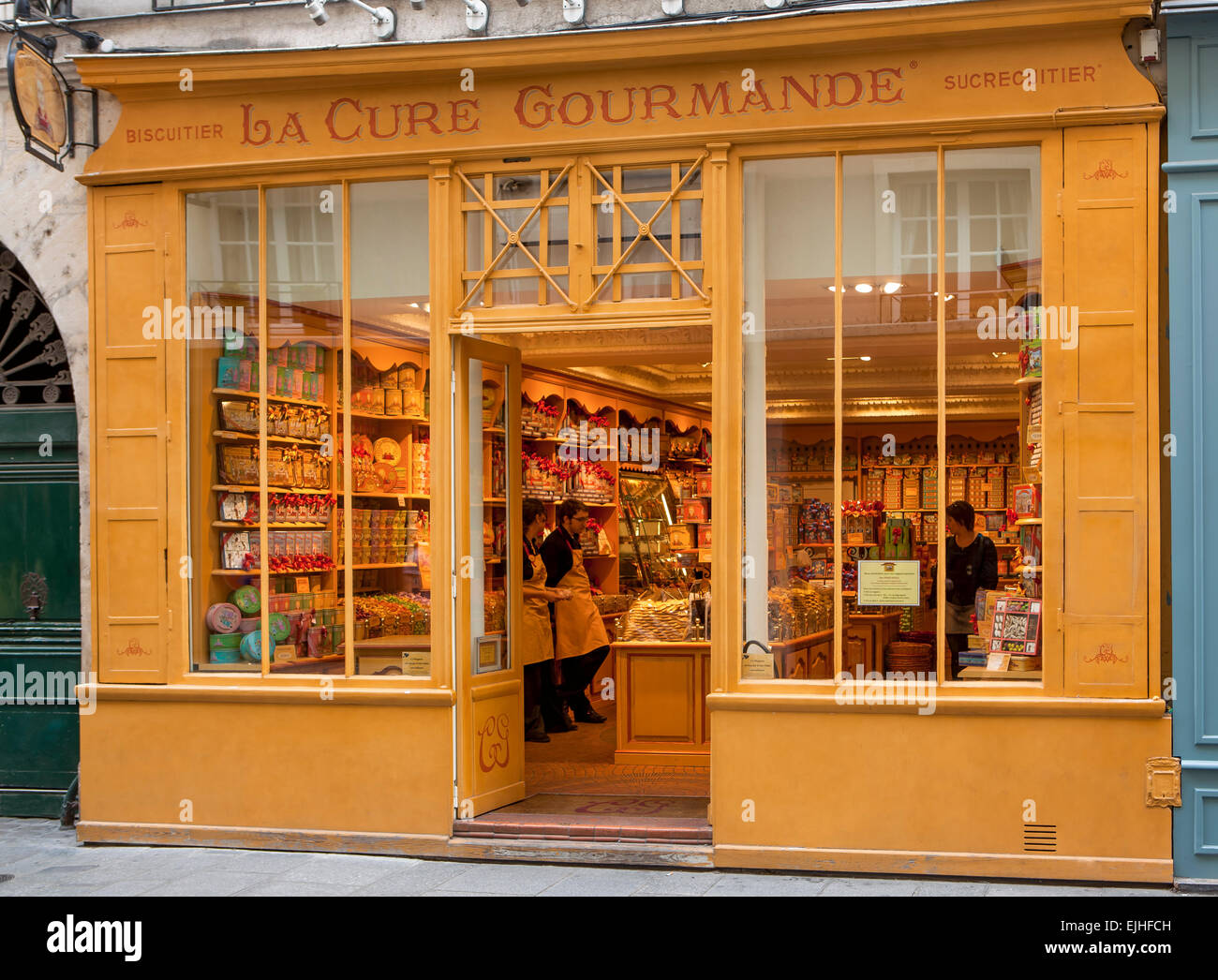 La Cure Gourmande chocolates and cookies Shop, Paris, France - Stock Image