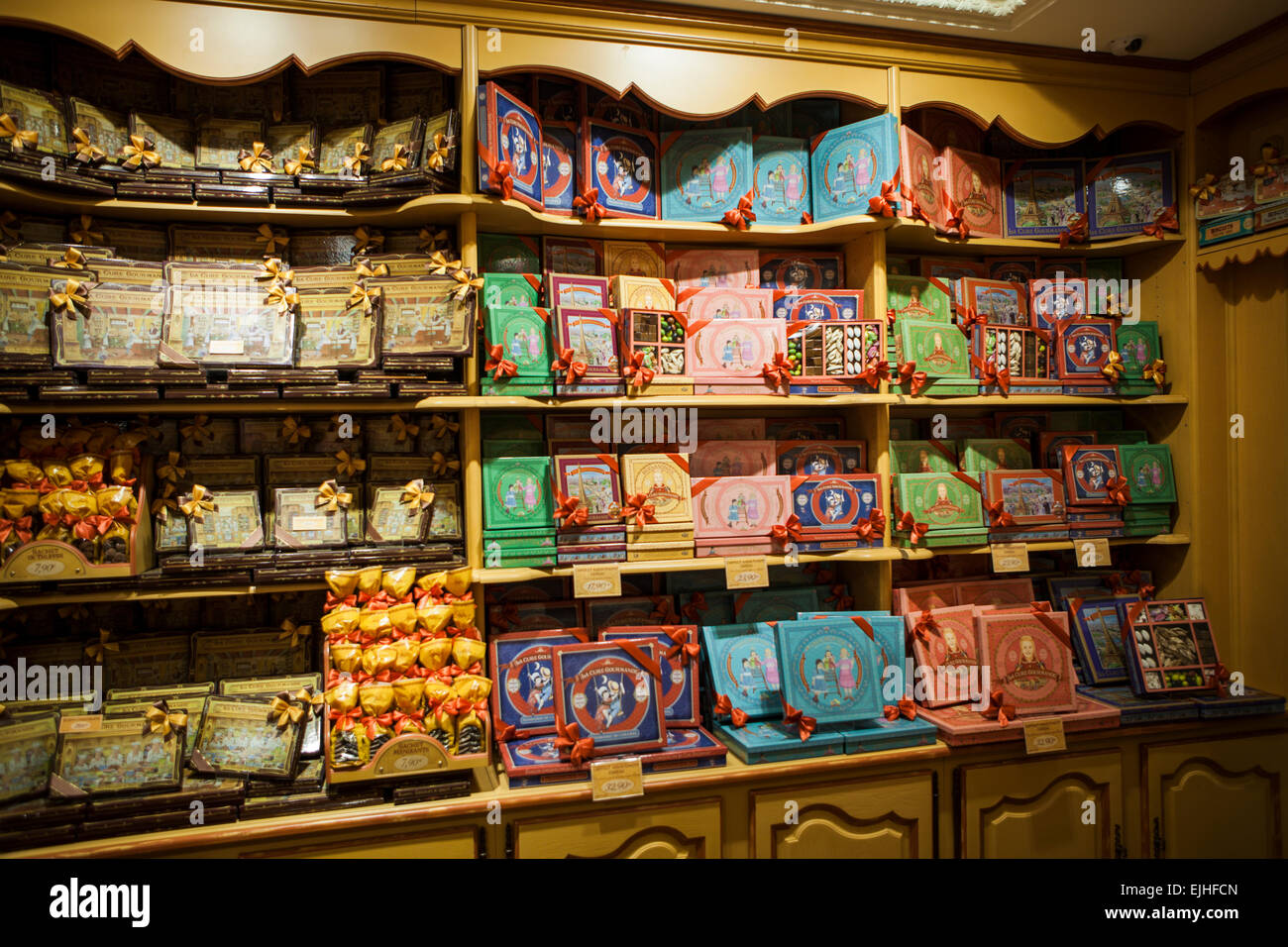 La Cure Gourmande chocolates and cookies Shop, Paris, France, interior - Stock Image