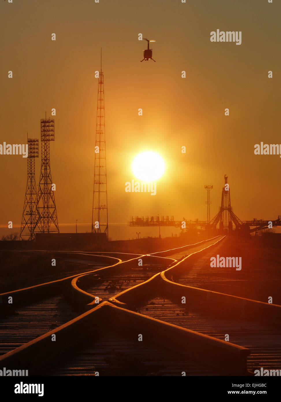 Baikonur, Kazakhstan. 25th Mar, 2015. A view of the Gagarin Start launch pad at the Baikonur Cosmodrome at sunrise. - Stock Image