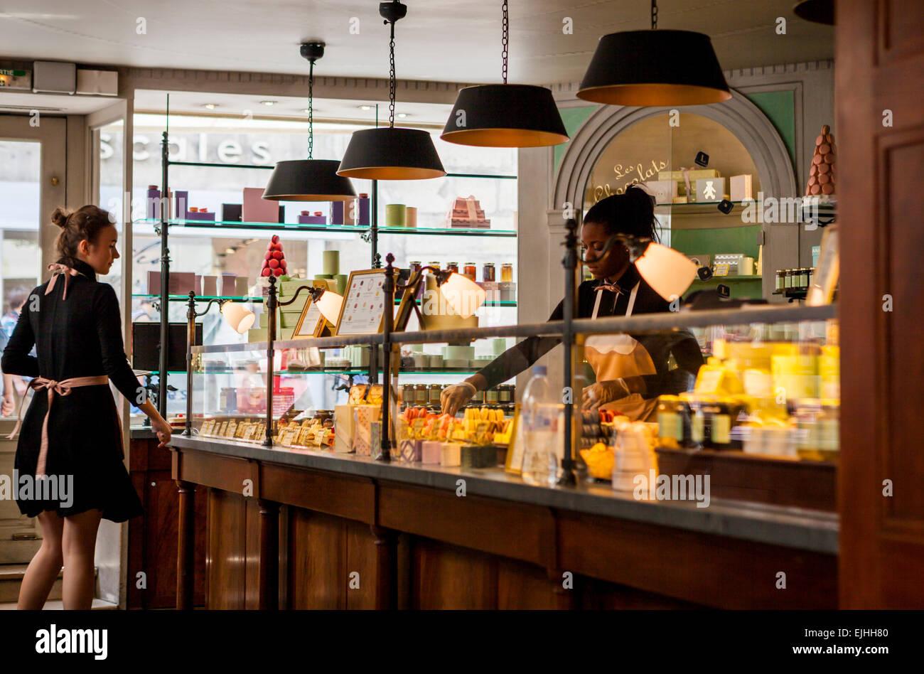 Interior of Laduree shop Rue Bonaparte, Paris, France - Stock Image