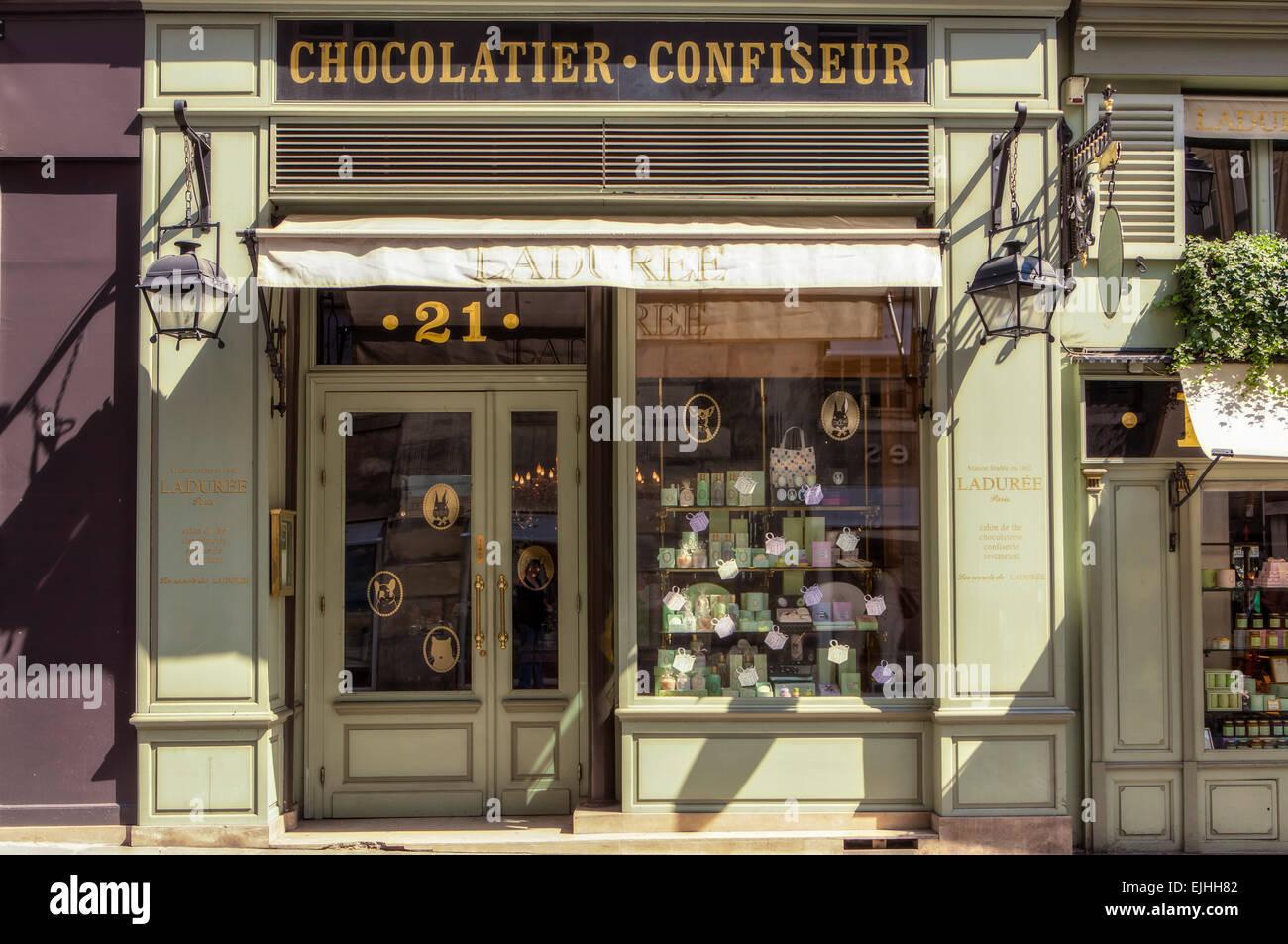 Laduree Rue Bonaparte shop front, Paris, France - Stock Image