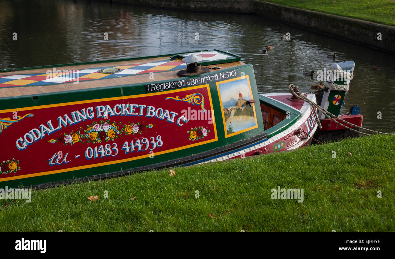 Horse-drawn canal boats on the River Wey in Godalming, Surrey, England - Stock Image