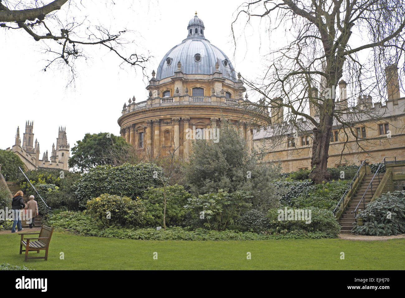 Radcliffe Camera building seen from Fellows Garden, Exeter College, Oxford, Oxfordshire, England, UK. - Stock Image