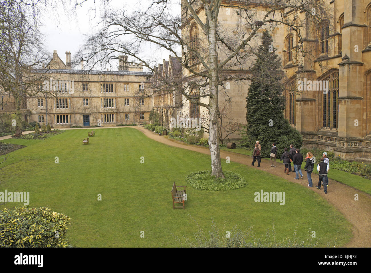 Fellows Garden, Exeter College, Oxford, Oxfordshire, England, UK. Founded in 1314 by Walter de Stapeldon, Bishop - Stock Image