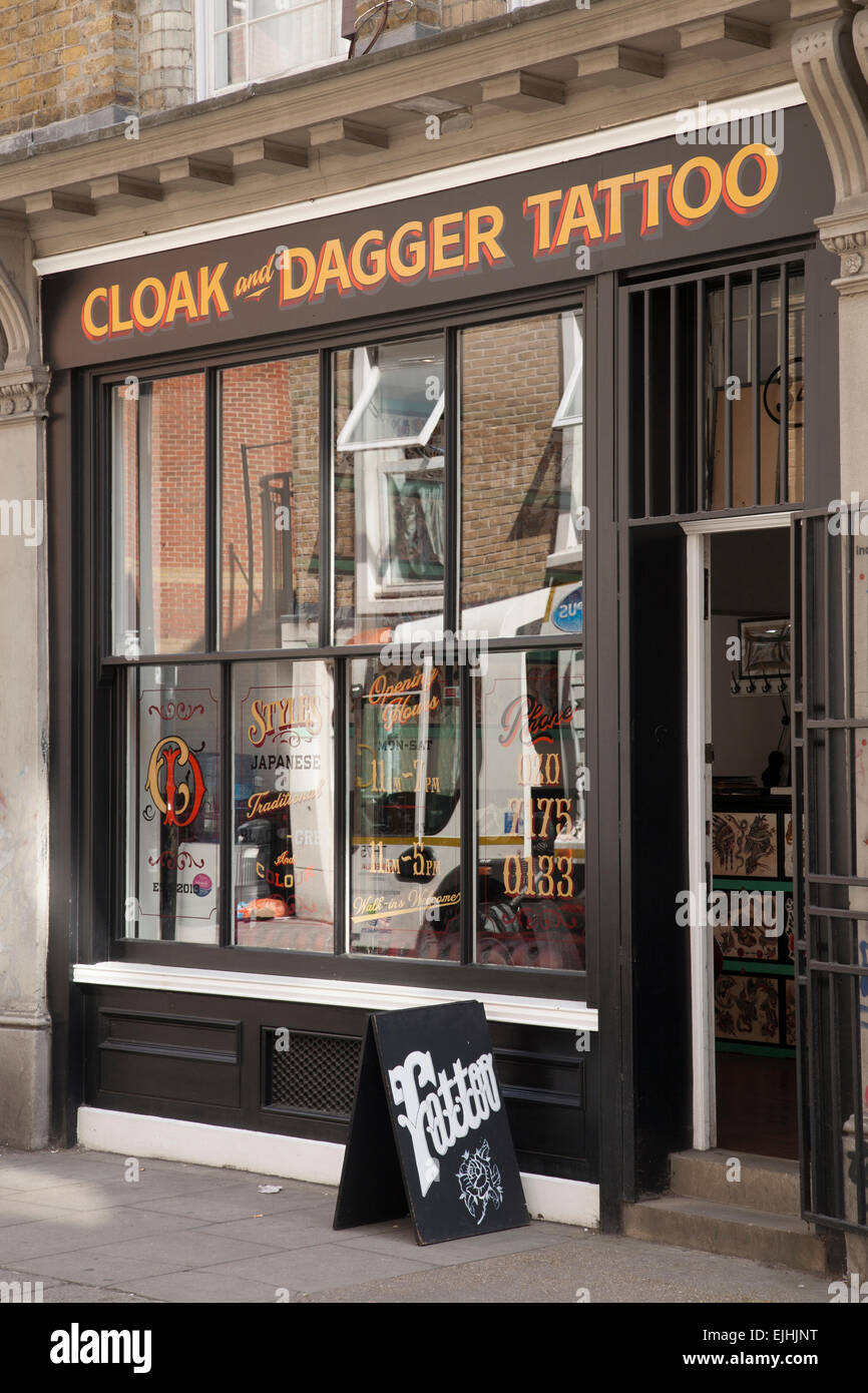 192beec44 Cloak and Dagger Tattoo Shop, Cheshire Street, London, England, UK - Stock