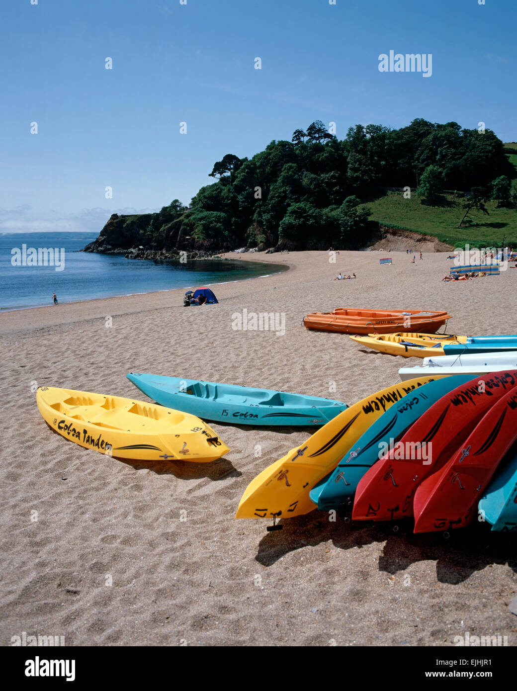 Kayaks on Blackpool Sands,  near Dartmouth, South Hams, South Devon, England. - Stock Image