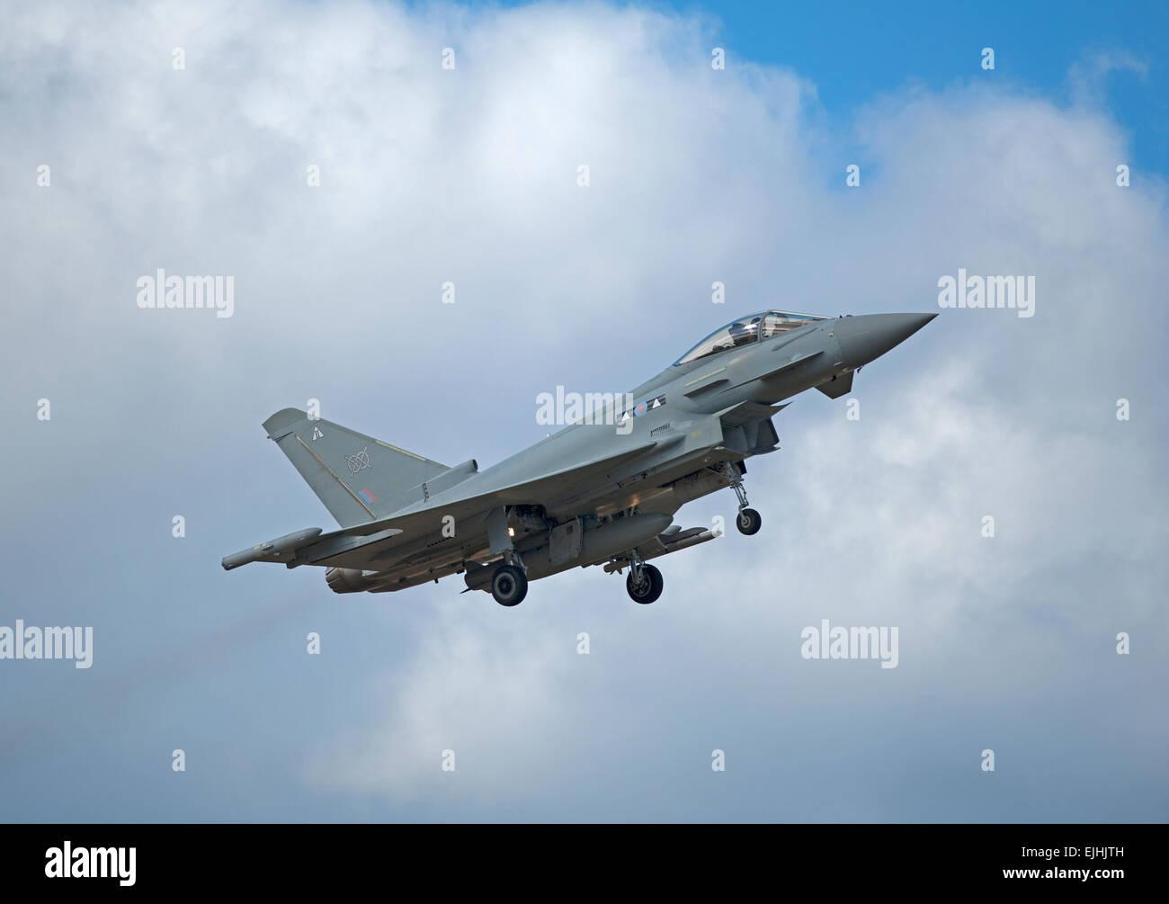 urofighter Typhoon ZK305 DE returns to RAF Lossiemouth Air Base, Morayshire. Scotland.  SCO 9665. - Stock Image