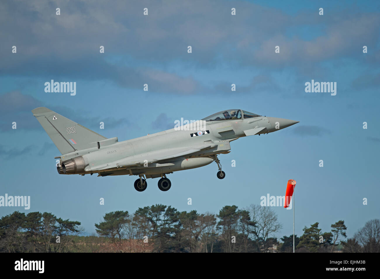 Eurofighter Typhoon ZK313 about to land at RAF Lossiemouth Air Base, Morayshire. Scotland.  SCO 9668. - Stock Image