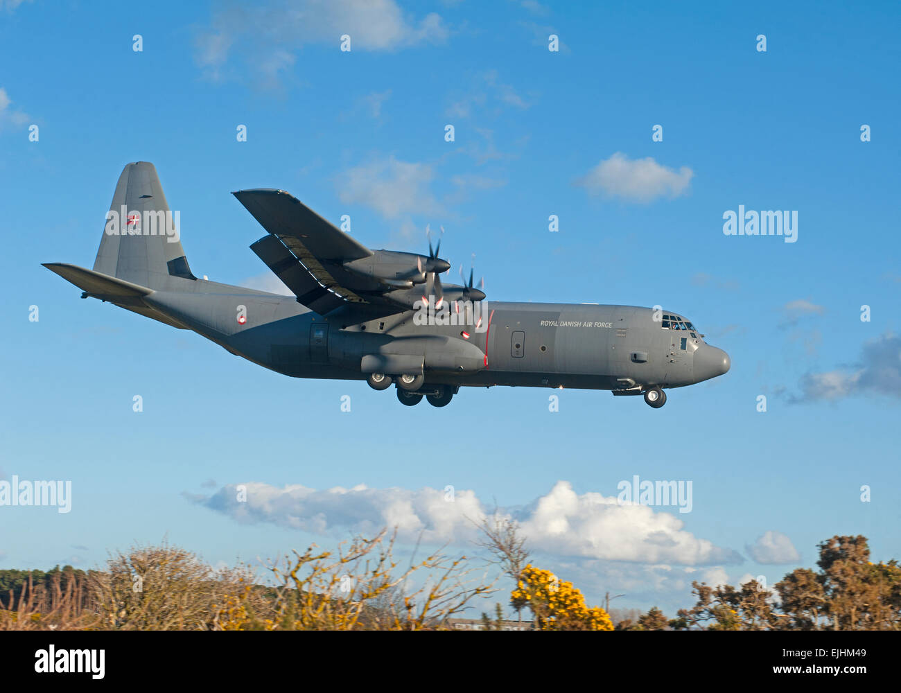A Royal Danish Air Force C130J-30 Hercules 2 makes its final approach to Lossiemouth, Morayshire. Scotland.  SCO Stock Photo