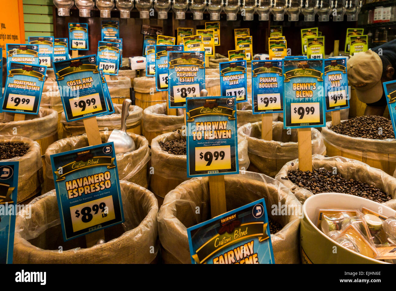 Baskets of coffee beans at Fairway Market, New York City, USA - Stock Image
