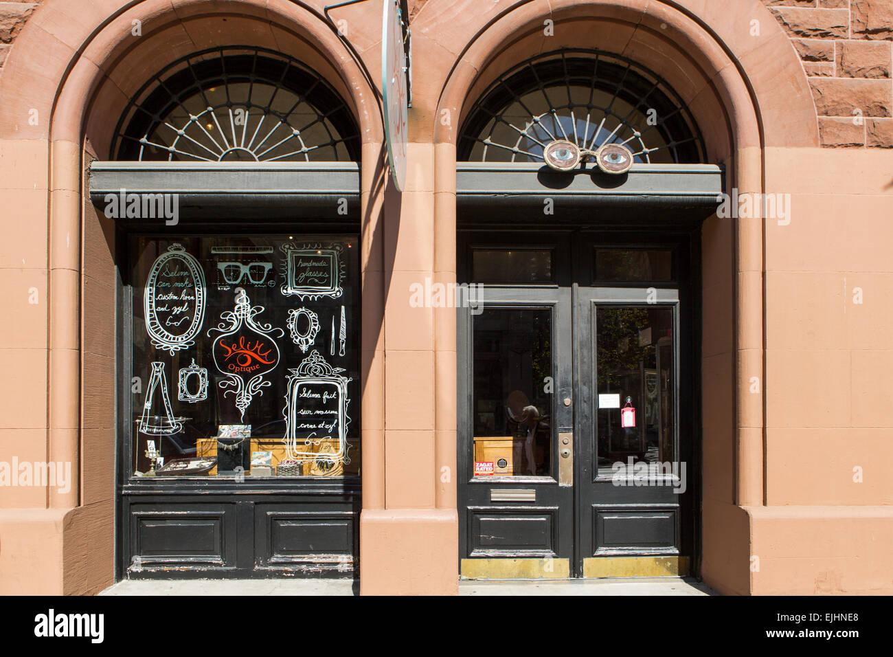 Handmade glasses shop in SoHo, New York City, USA - Stock Image