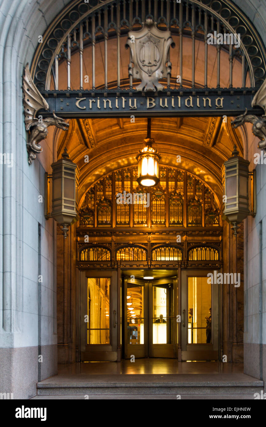 Detail of main entrance to Trinity Building on Broadway, New York City, USA - Stock Image