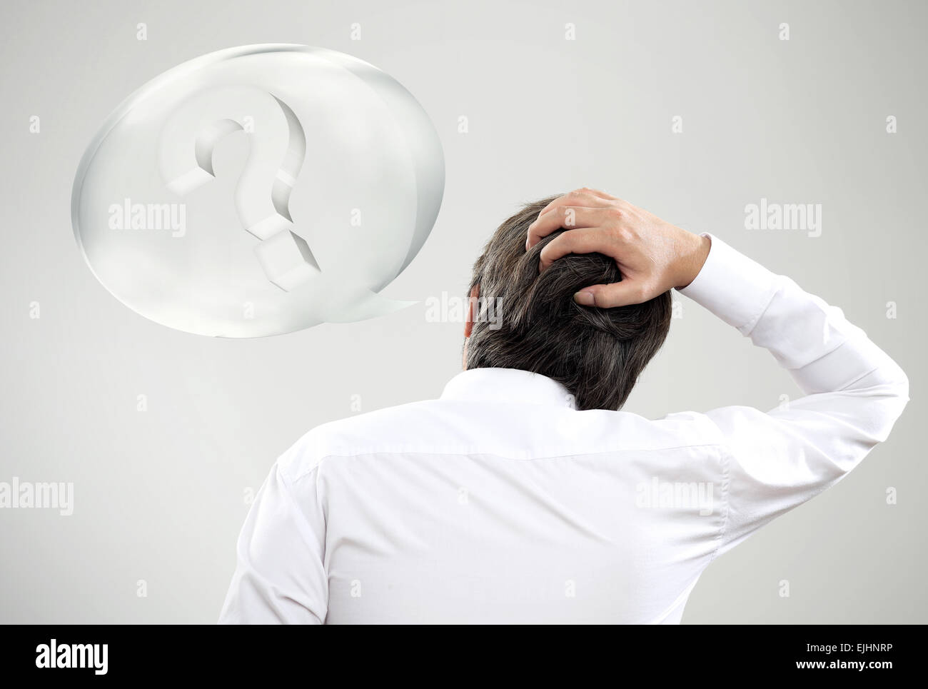 Businessman acting to suspect with his problem - Stock Image