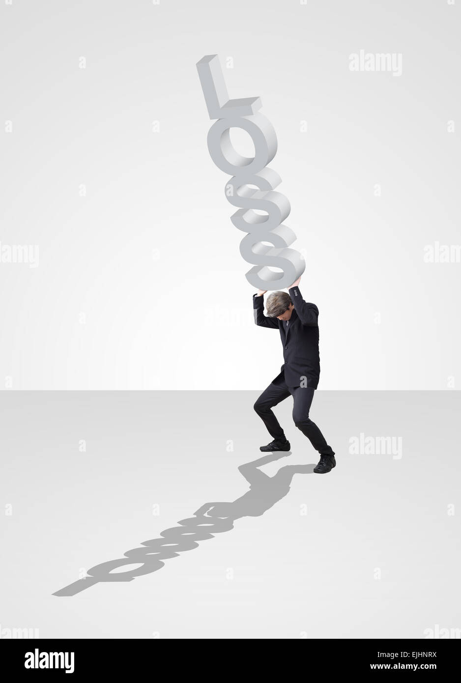 Businessman acting carry problem and loss of business - Stock Image