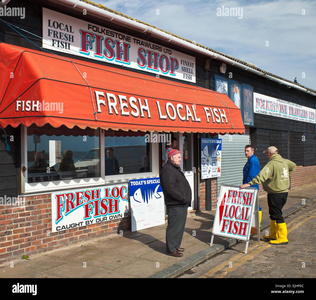 Fishmongers run by local fishermen, Folkestone. - Stock Image