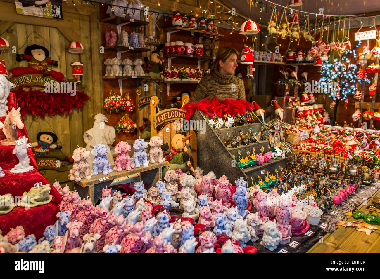 Bruges Christmas Market.Christmas Market In Main Square In Bruges Belgium Stock