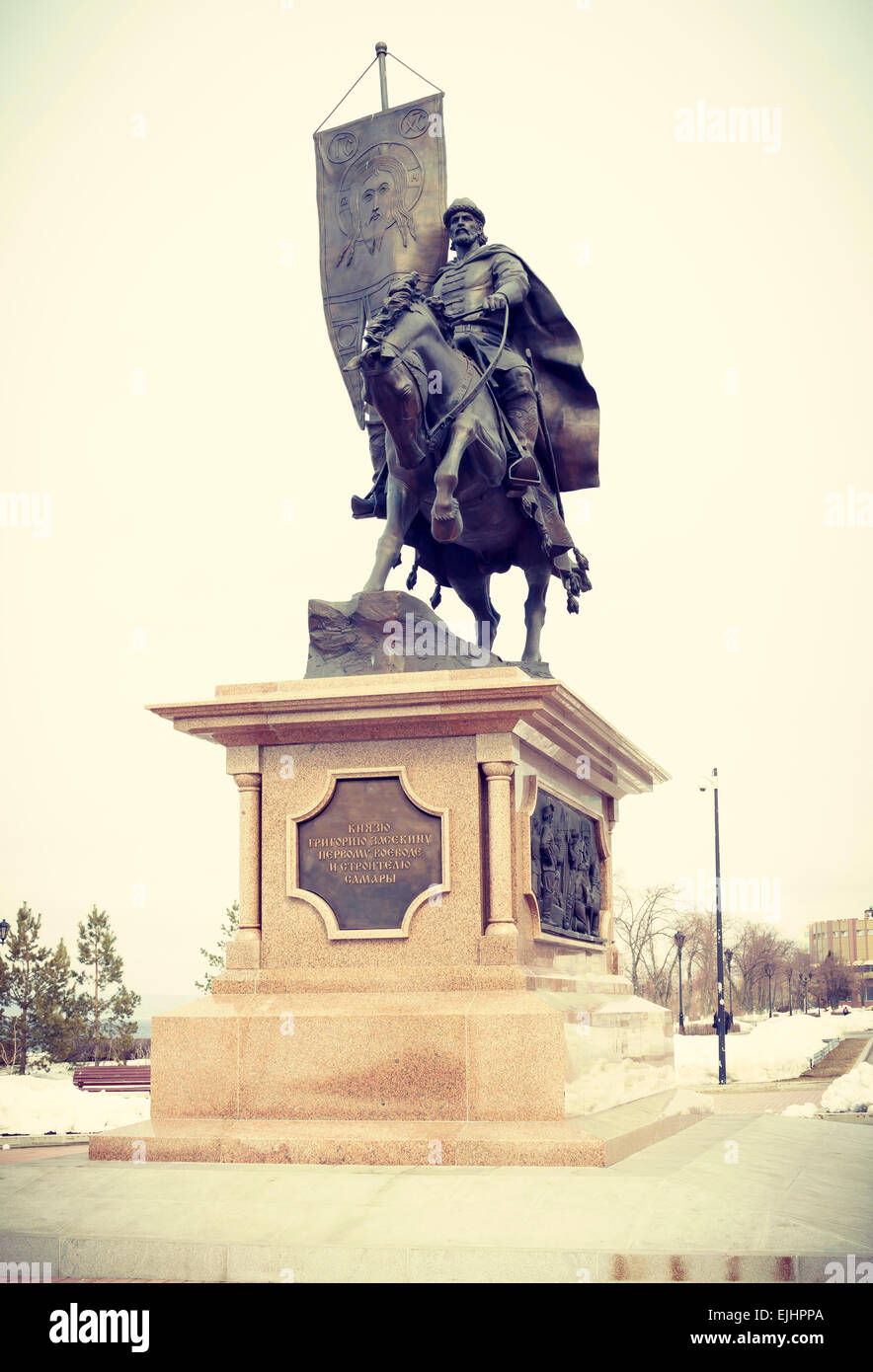 Monument to the first governor of Samara - Grigory Zasekin - Stock Image
