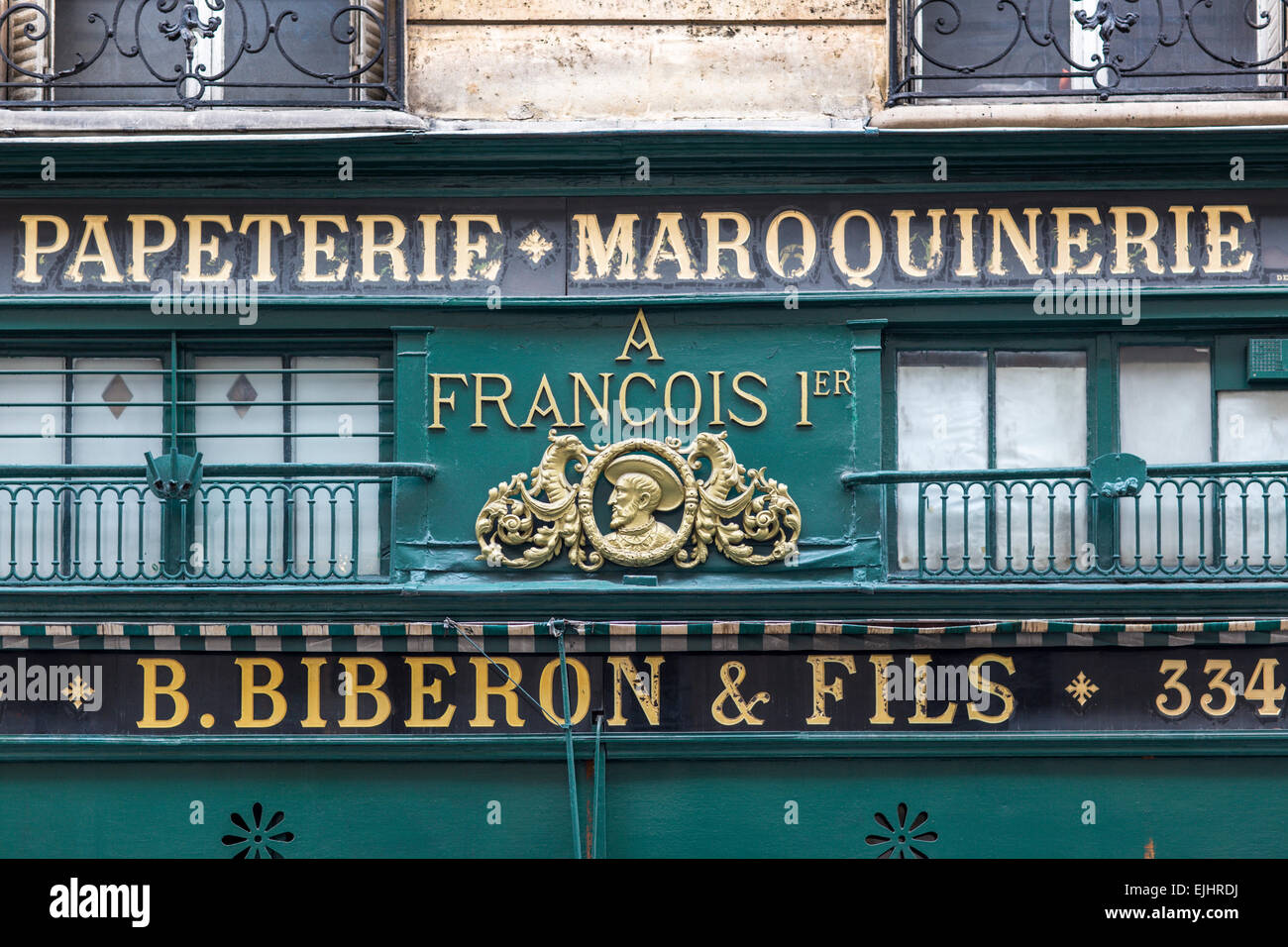 Paper and leather goods shop front, Paris, France - Stock Image
