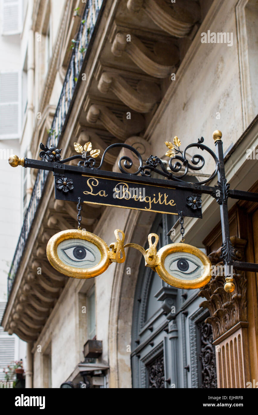 Sign outside La Brigitte eyeglasses shop, Paris, France - Stock Image
