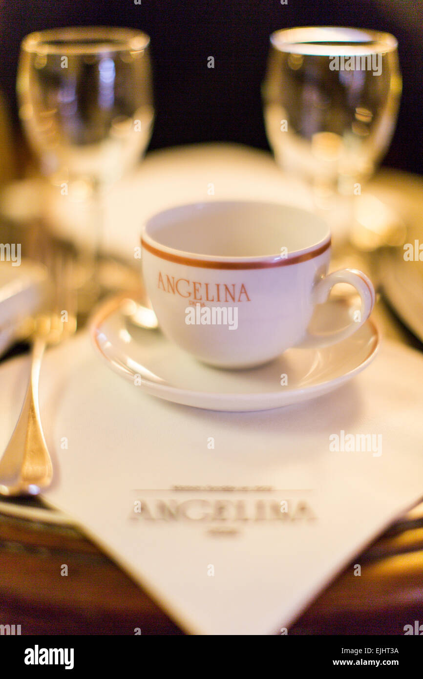 Angelina tearoom place setting with cup, Paris, France - Stock Image