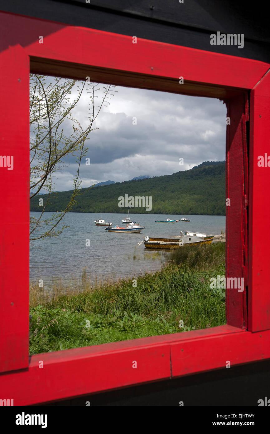 Window scenic. Puerto Puyuhuapi. Aysén Province. Carretera Austral. Patagonia. Chile - Stock Image