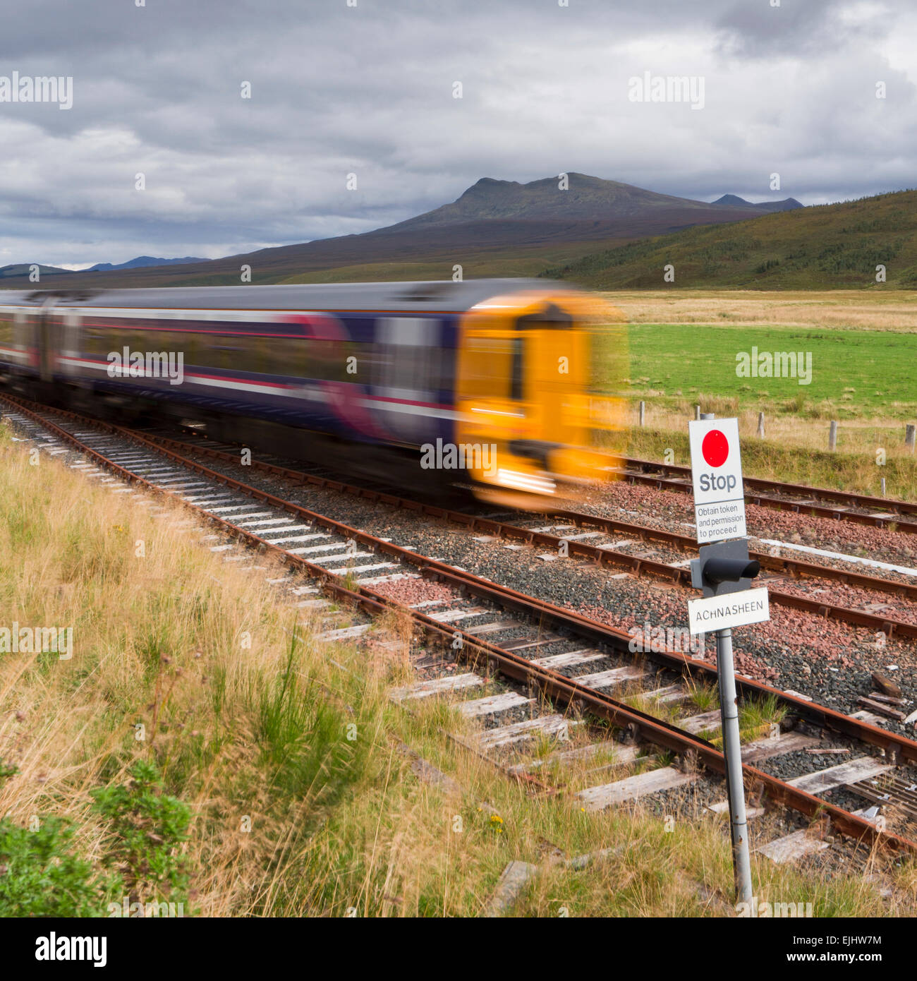 Scotrail train in highlands - Stock Image