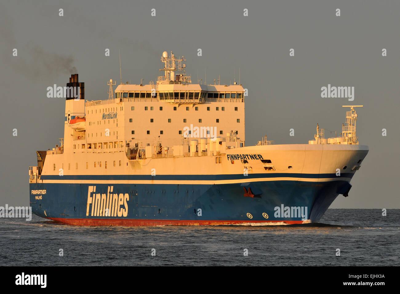RoPax Ferry Finnpartner inbound Travemünde - Stock Image
