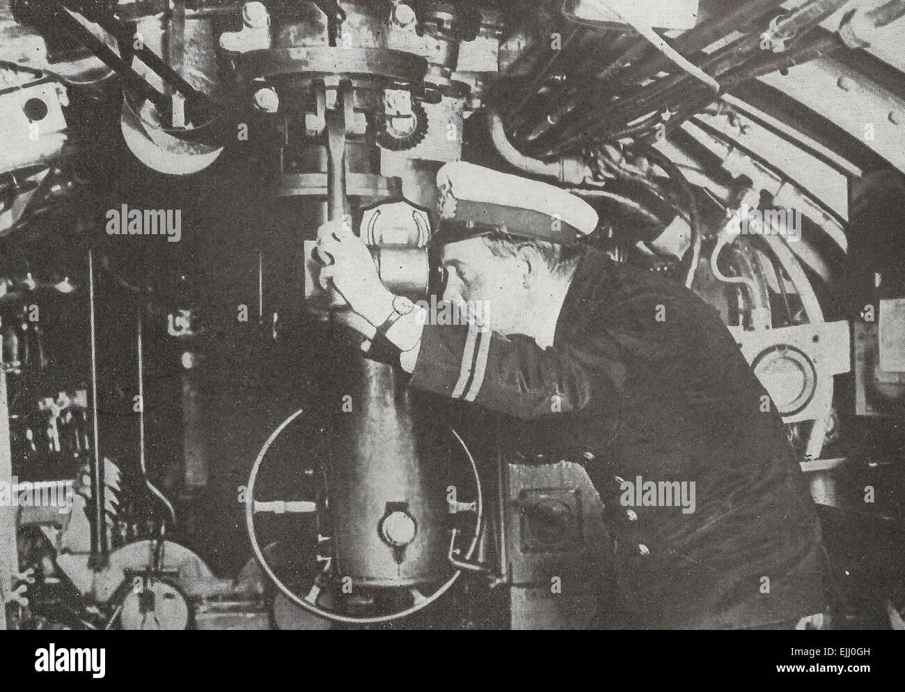 An anxious moment on a British Submarine during World War I, circa 1917 Stock Photo