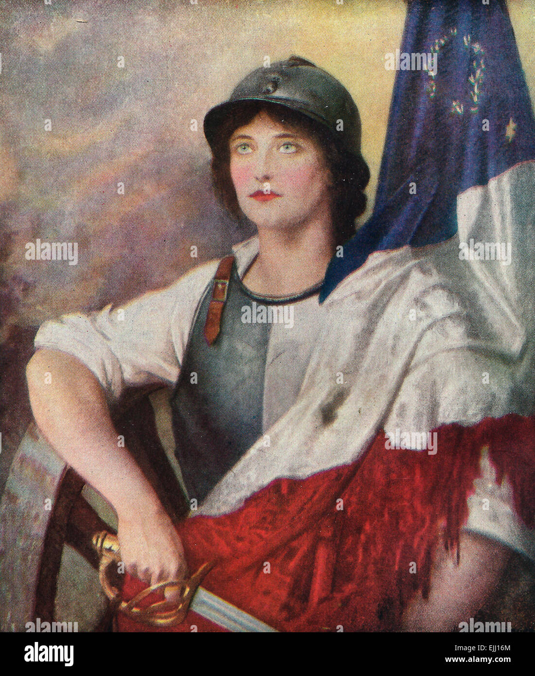 Verdun - A woman, presumably Joan of Arc, with French Flag and sword - Stock Image