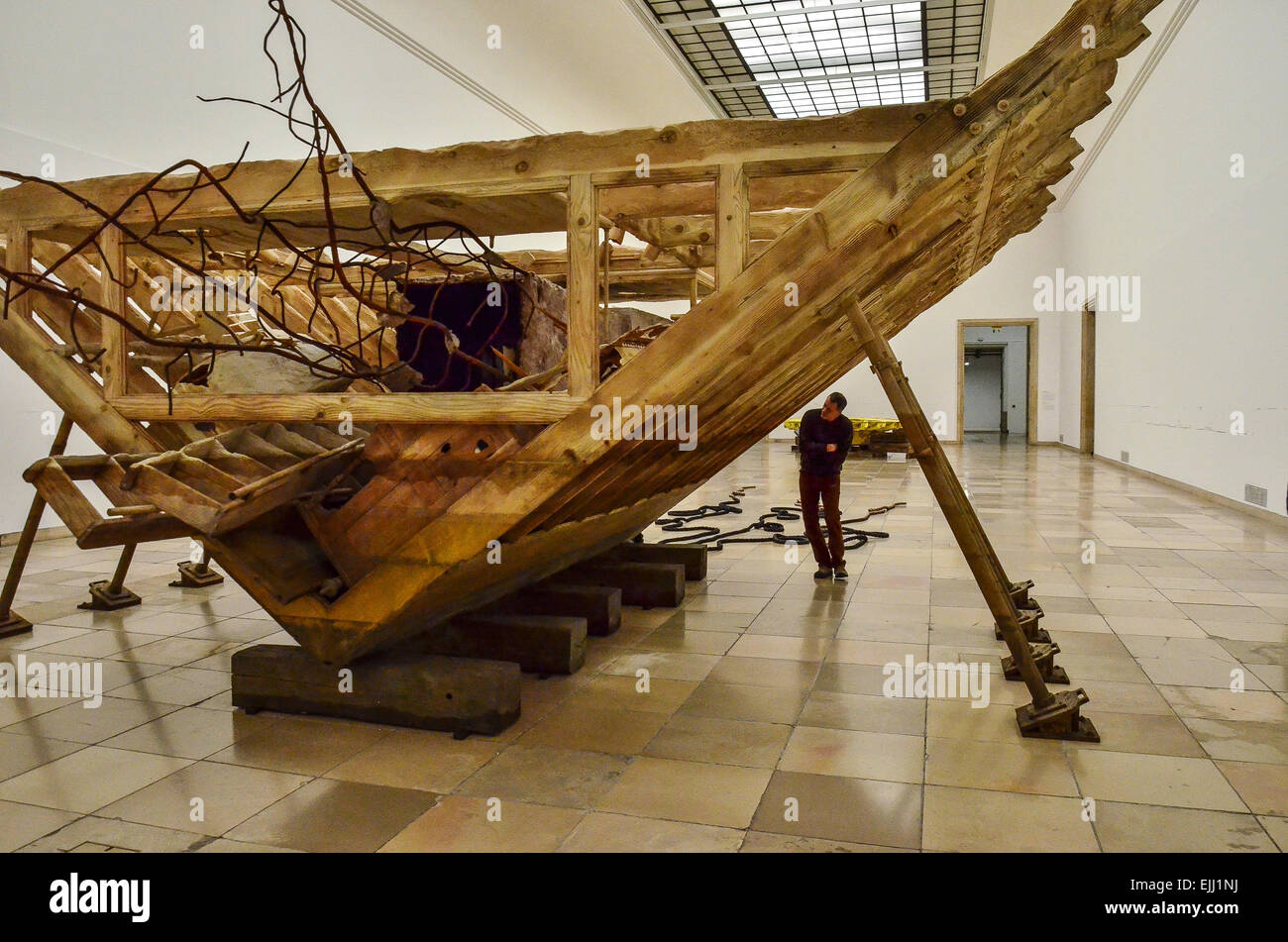 Matthew Barney, Boat of Ra 2014,River of Fundament, a Gesamtkunstwerk, Haus der Kunst, Munich , 2014 - Stock Image