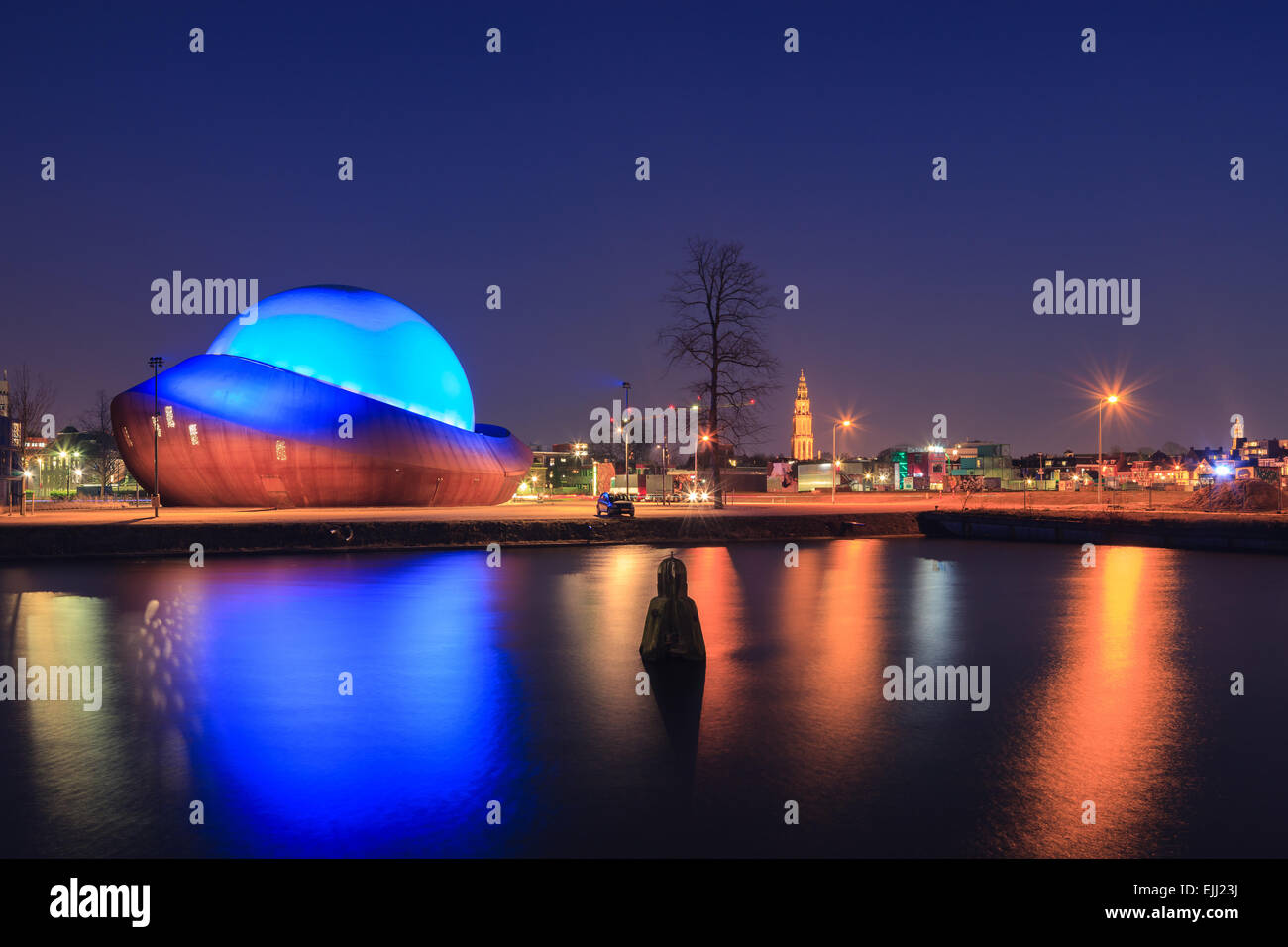 The Infoversum: knowledge temple, information dome and cinema. Groningen, Netherlands. - Stock Image